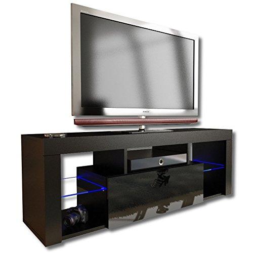 Nouveau. Superbe unité de Support TV Cabinet 130 cm + Noir ou Blanc + Mat avec Acrylique Brillant Porte + Flottant/Debout + LED avec télécommande