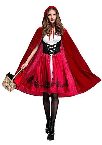 Generico Costume da Carnevale Halloween Cappuccetto Rosso con Mantello Travestimento Vestito Cosplay Festa (Taglia 44-46)/CP9013-L
