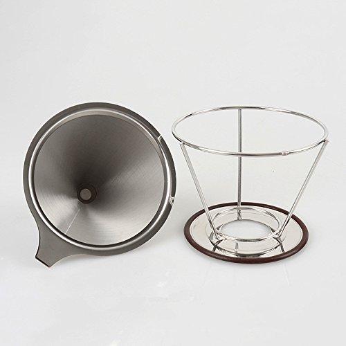 Herausnehmbare Edelstahl Kaffee über papierlosen POUR Tropfer Set mit doppeltem Netz Filter