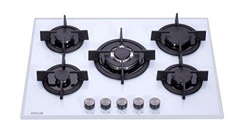 Millar GH7051PW Plaques de cuisson en Verre trempé avec 5 brûleurs à gaz Blanc 70 cm / Table de Cuisson