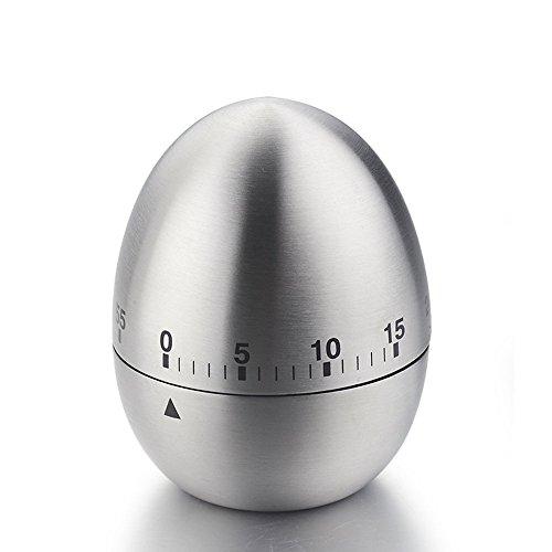 iStwahl - Timer meccanico a forma di uovo, in acciaio, con cronometro , (Ø x H) 61mm x 77mm
