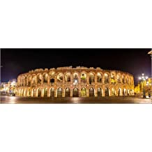 Cuadro sobre lienzo 130 x 50 cm: Arena of Verona at night de Colourbox - cuadro terminado, cuadro sobre bastidor, lámina terminada sobre lienzo auténtico, impresión en lienzo