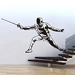 Idea Regalo - Swordsman Fencer Wall Stickers per Adesivi Murali Fencing Hall FCH Murales Decorazioni Accessori per Soggiorno Carta da parati in vinile 108X58CM