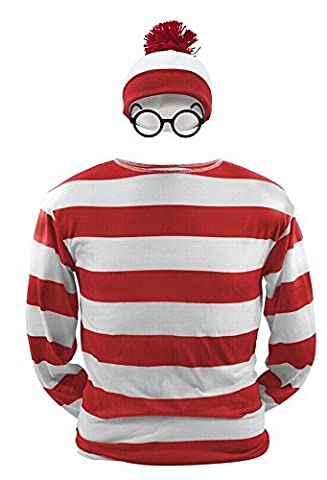 Where's Waldo Now T-Shirt Rot/Weiß gestreift Hemd Oberteil Kostüm mit Mütze Brille L (Wo Ist Waldo Kostüm Damen)