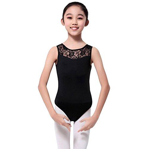 MORESAVE Mädchen Ärmelloses Spitze Ballett Dancewear Trikotanzug Gymnastik Oberseiten mit Slips