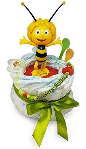 Elfenstall Windeltorte / Pamperstorte mit Biene Maja Nachtlicht und Schnullertkette als tolles Geschenk / Geschenkset zur Geburt oder Taufe auf Wunsch mit Name des Babys (Beanie Boo Für Jungen)