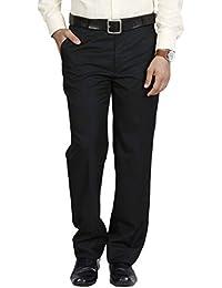 Mangal Men's Black Regular Fit Formal Trouser