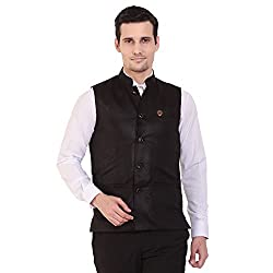 Vandnam Mens Poly Cotton Black Color Solid Nehru Jacket (Black)