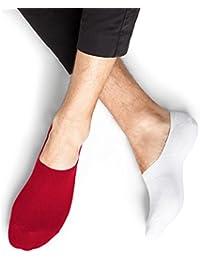 BLEUFORÊT - Invisibles coton protège-pieds - Rouge/Blanc, 43/46