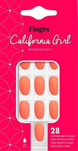 Fing'rs California Girl Nails - Matte Coral, 28 Stück -