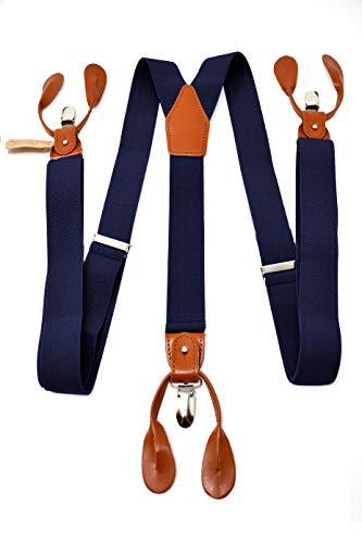 Oxford collection bretelle blu scuro di alta qualità completamente regolabili - 3 clip o 6 bottoni (personalizzabili)- forma di y - classiche, eleganti e moderne