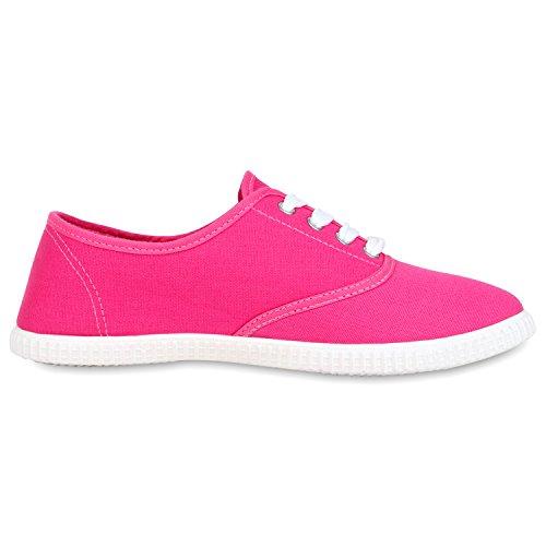 napoli-fashion Damen Sneakers Freizeit Schuhe Stoffschuhe Jennika Pink Weiss