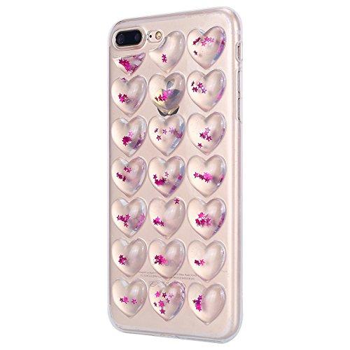 Cover iPhone 8 plus 5.5, Custodia iphone 7 plus Glitter, MoreChioce Moda Ultra Slim 3d Gel Glitter Scintillio a forma di cuore Soft Silicone Gomma Morbido TPU Ragazza Women Trasparente Chiaro Cover S Rosa Stelle