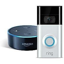 Amazon Echo Dot (Black) & Ring Video Doorbell 2