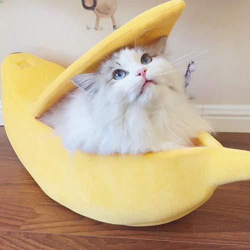 Mitlfuny Weihnachtsneuheit Dekoration 2019-Kleines Haustier Bett Bananenform Fluffy Warm Weichem PlüSch Atmungsaktive Bett Banana Cat Bed (Cat In The Hut Kostüm Kinder)