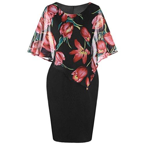 MOIKA Damen Kleid, New Mode Damen Casual Plus Size Rose Print Chiffon O-Ausschnitt Rüschen Minikleid(L4,Rot)