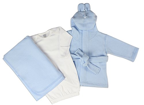Bambini Newborn Baby Boys 3 Pc Layette Set (Gown, Robe, Fleece Blanket) - Newborn Baby Boy Layette Set