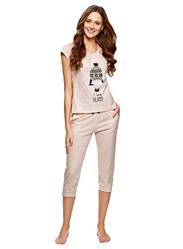 oodji Ultra Mujer Pijama con Pantalones Piratas y Estampado en el Pecho, Rosa, ES 36 / XS