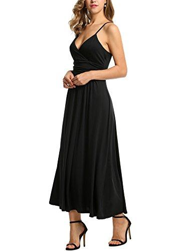 ZEARO Damen Elegant Maxikleid Sommerkleid Strandkleid Partykleid Cocktailkleid Abendkleid Schwarz