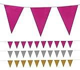 Foxxeo l einfarbige XXL Kunststoff Wimpelkette in den Farben gold, silber oder pink für Garten Geburtstag Hochzeit Party Wimpel Deko Kette, Farbe:Pink, Menge:10
