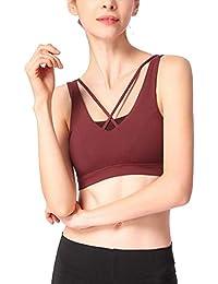Sujetador Deporte Yoga con Relleno Extraíble Cruz Transpirable Top Sujetadores Gimnasio Deportivo para Mujer