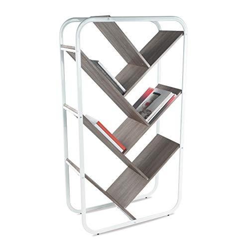 urb SPACE URB Platz 384503517Ebenen Holz Bücherregal Metall Bücherregal Display Abstellflächen, weiß Ahorn -