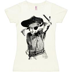 Logoshirt Camiseta para mujer Pippi Calzaslargas - Pirata - Pippi Långstrump - Pirate - de color - Blanco Antiguo - Diseño original con licencia, talla M