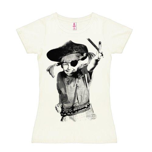 Langstrumpf Kostüm Womens Pippi - Logoshirt Pippi Langstrumpf - Pirat T-Shirt Damen - altweiß - Lizenziertes Originaldesign, Größe M