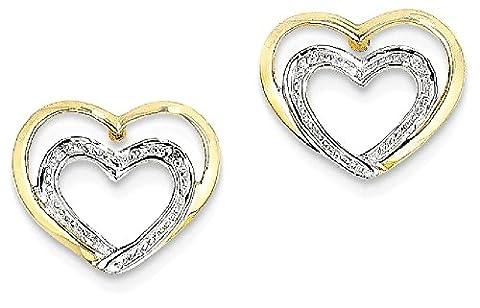 IceCarats 14k Yellow Gold Diamond Double Heart Post Stud Earrings