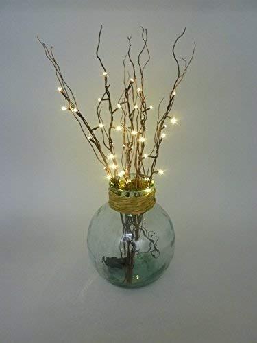 Dapo LED-Lichterkette auf 5 Rattanzweigen Lichterzweige Dekoration stimmungsvolle 40 LEDs batteriebetrieben Timer-Automatik Weidenzweige H70 cm Dekoleuchte Leuchtzweige -