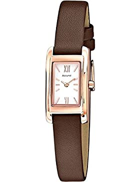 Accurist Damen Armbanduhr Rose Gold Fall Weiß Zifferblatt braun Lederband ls643