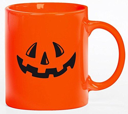 tüm Kaffeetasse Kaffeebecher mit Halloween - Kürbis Gesicht Motiv, Größe: onesize,orange (Tasse Kaffee Halloween Kostüme)