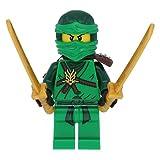 LEGO Ninjago Minifigur Grüne Ninja Figur Lloyd green mit 4 Waffen