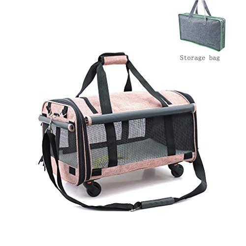 DOARG Sac Pet Trolley Chat et Chien Voyage Grande capacité Caster Pliable à Trois côtés Respirant Sac de Rangement de Stockage Portable (Color : Blue)