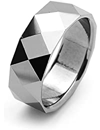b577d09f6fad Little Treasures 8MM Comfort Fit Tungsten Carbide Wedding Band Faceted Ring  For Men   Women Cobalt