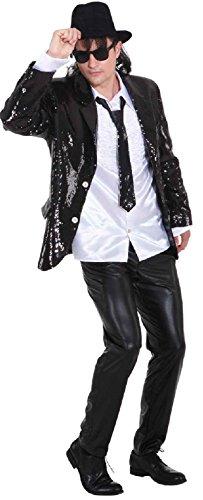 Herren Pailletten Jackett Discojacke Gr.48-50 (Schwarze Pailletten Jacke Erwachsene Kostüme)