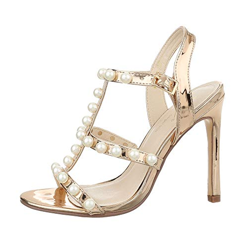 Ital-Design Damenschuhe Sandalen & Sandaletten High Heel Sandaletten Synthetik Gold Gr. 36