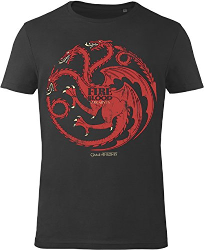 GOZOO Game of Thrones T-shirt Uomo House Targaryen - Fire and Blood 100% Cotone, Stampa di Alta Qualitá Nero L