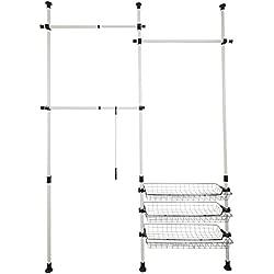 Orolay Appendiabiti Attaccapanni Porta Abiti altezza regolabile Stand Stender Aste Ripiani DTLD01