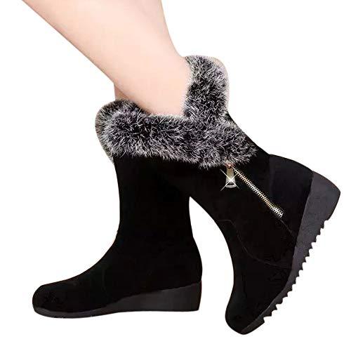 Bottes de Neige Femme, Manadlian Bottines Plates Fourrées Boots Hiver Zippées Daim Chaussures Courtes Plates Doublure Chaude Bottines