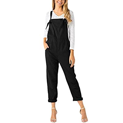 HARRYSTORE Women Regular Fit Dungarees Overall Strap Sleeveless Long Playsuit Jumpsuit Pockets Rompers Jeans Pants Trousers