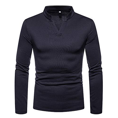 Zolimx Herren T-Shirt Winter Slim Fit Männer Herbst Winter Casual Brushed V-Ausschnitt Langarm Base Shirt Top Bluse
