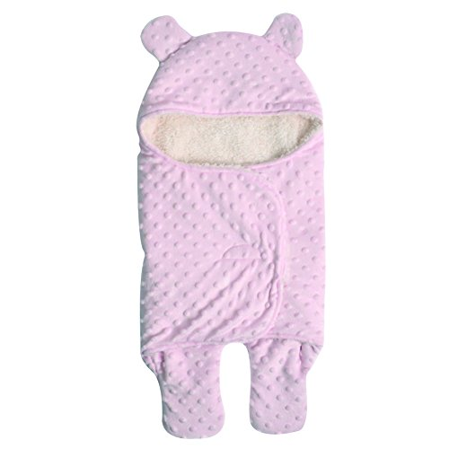 Mainaisi Baby Einschlagdecke Wickeldecke Neonatal Drucken Double-Layer Schlafsack (Rosa,S/65X75CM)