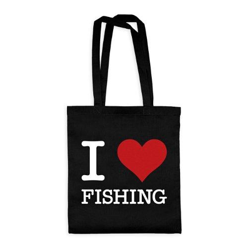 dress-puntos Baumwolltasche I Love Fishing drpt-bwt00822-2 Textil black / Motiv weiss - 42 x 38 cm (Ein Fisch Zwei Fische Kostüm)