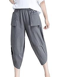 c3056e706f Hibote Harem Pantalones para Mujeres 3 4 Pantalones Capri de Moda Color  Sólido Casual Shorts