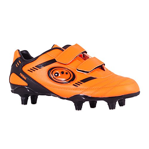 Optimum Jungen Tribal-Velcro 6 Stud Fußballschuhe Orange (Fluro Orange/Black)