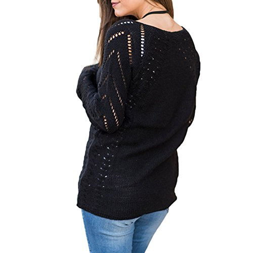 LAEMILIA Pull Femme Automne Hiver Chandails à Manches Longues Sexy Col V Casual Pullover Maille Sweater Jumper Tops Tricots Noir