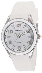 Naf Naf - N10019-201 - Monna - Montre Femme - Quartz Analogique - Cadran Blanc - Bracelet Caoutchouc Blanc