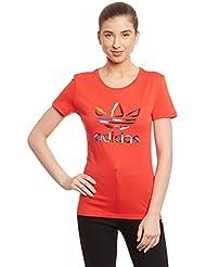 adidas Trefoil Tee - Camiseta para mujer, color rojo, talla 32