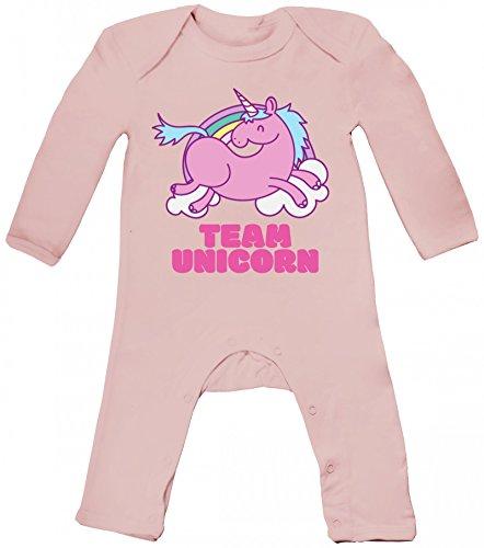 Kostüm Nerd Niedlich Mädchen - ShirtStreet süßes Einhorn Fasching Karneval Kostüm Baby Strampler Langarm Schlafanzug Jungen Mädchen Team Unicorn, Größe: 12-18 Monate,Powder Pink